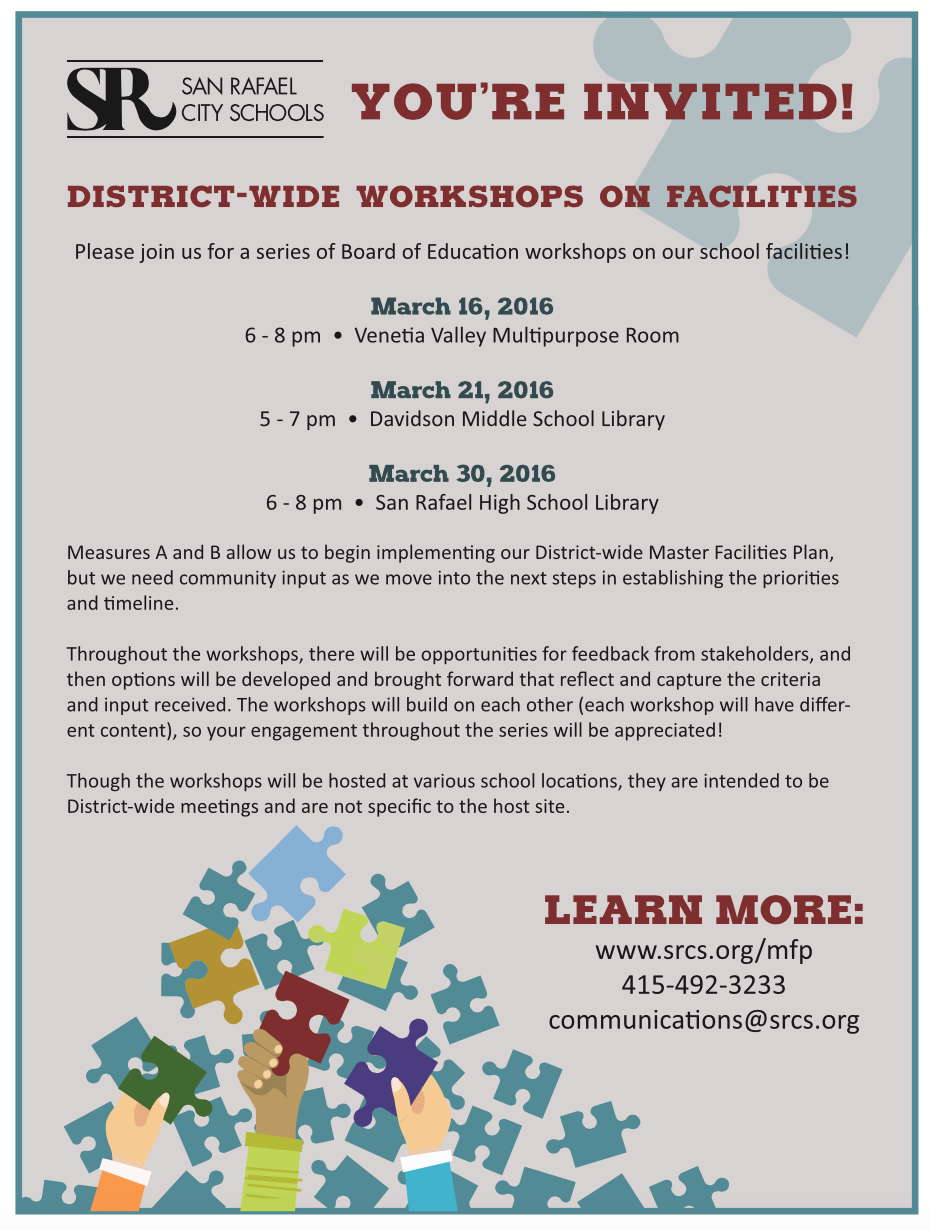 District-wide workshops on facilities